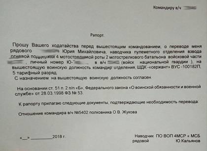 Требования к рапорту на перевод