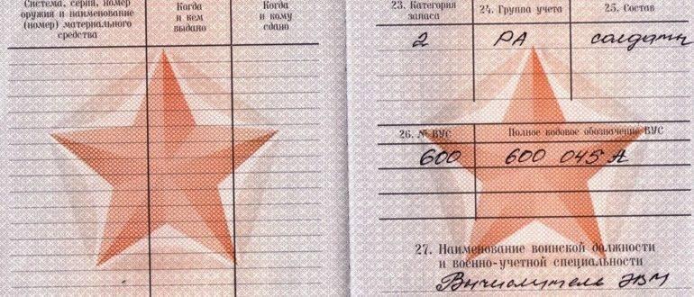 Категория А в военном билете