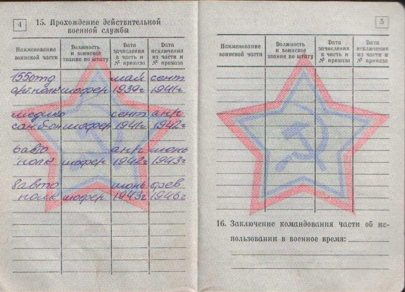 Сведения в военном билете