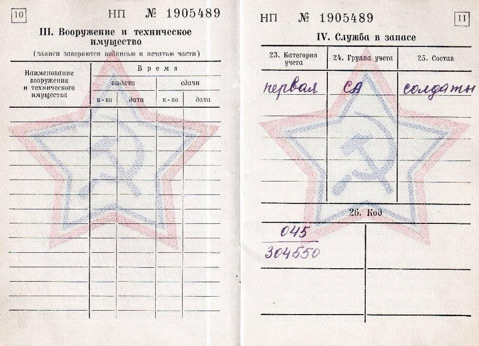 Где в военном билете указывают группу крови