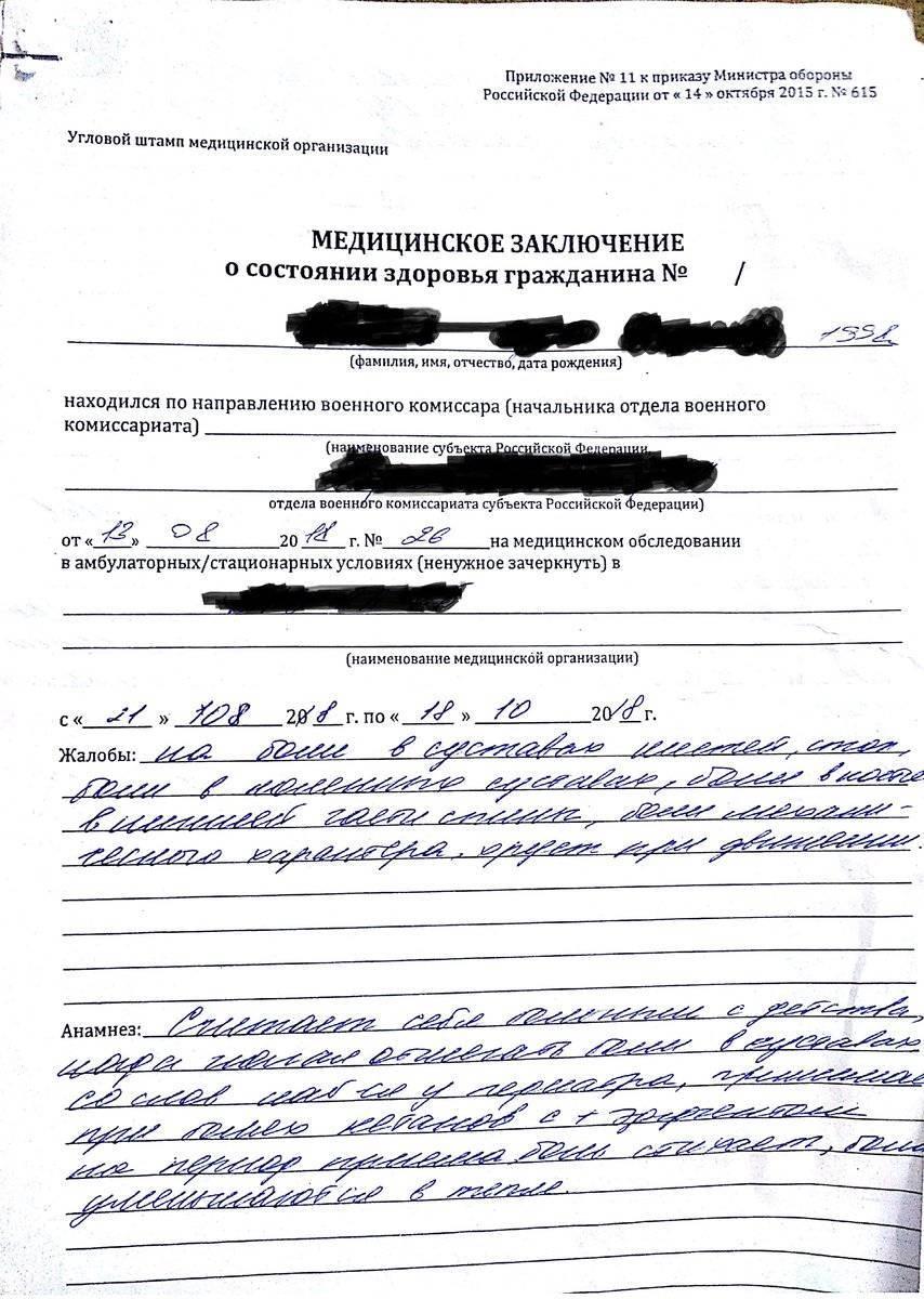 Дополнительное медицинское обследование от военкомата